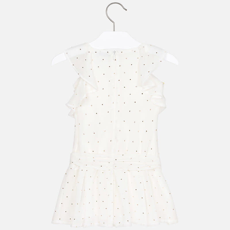 Mayoral Chiffon Romper Off-White With Tacks