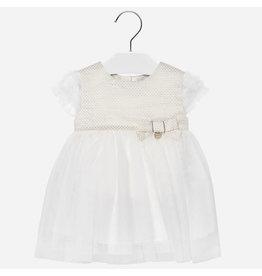 Mayoral Jaquard Dress Lurex Off-White