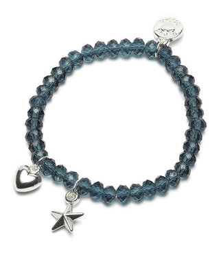 Proud Mama Armband Charm Ster/Hart Blauw