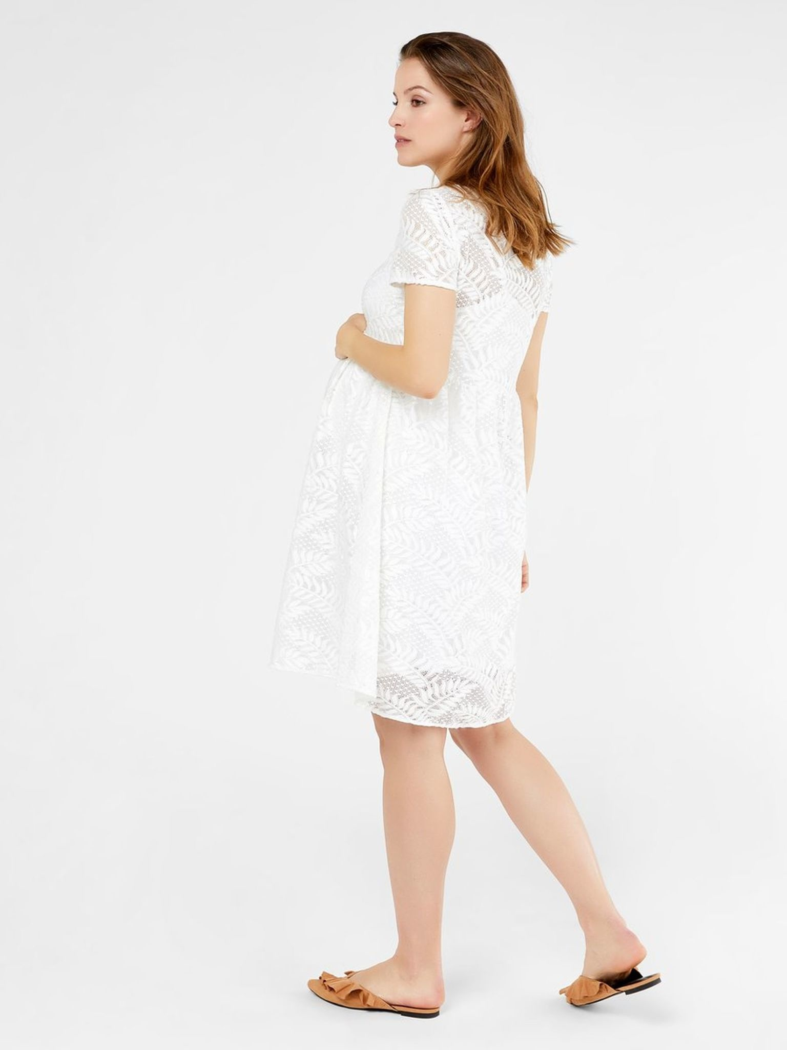 Mamalicious Yosie S/S Woven Lace Dress Off-White
