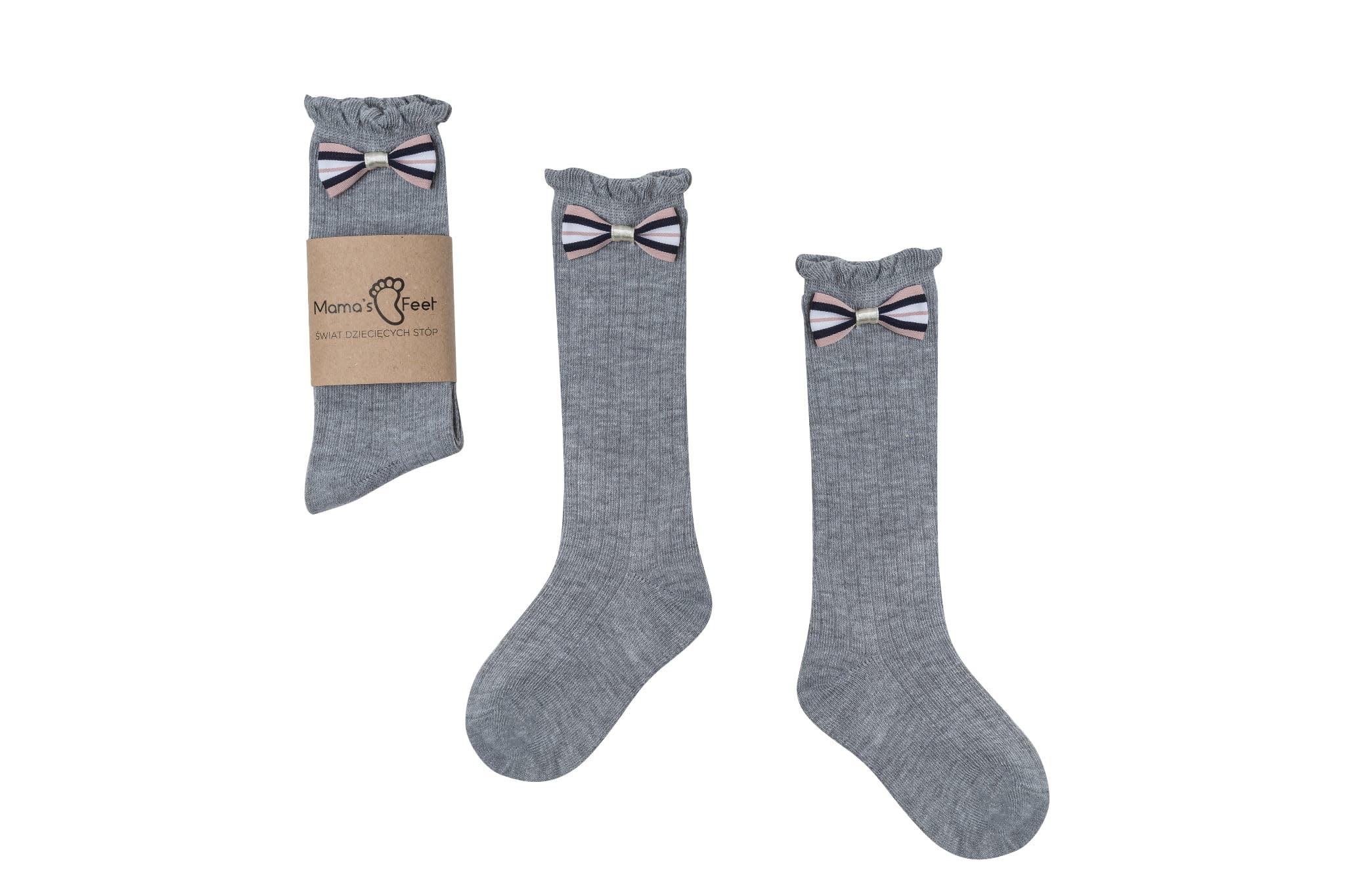 Mama's Feet Bow Socks Grey