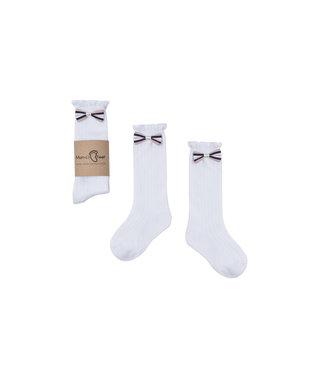 Mama's Feet Bow Knee Socks White