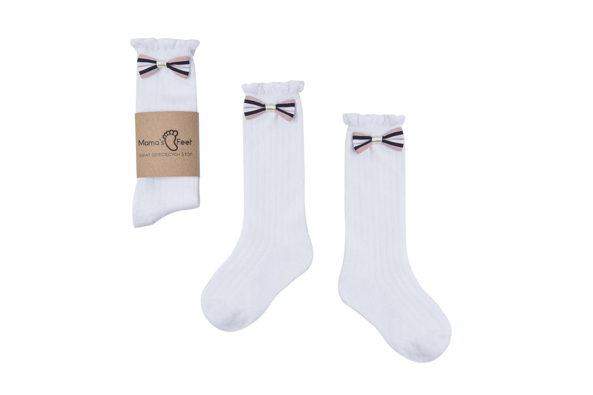 Mama's Feet Bow Knee Socks White