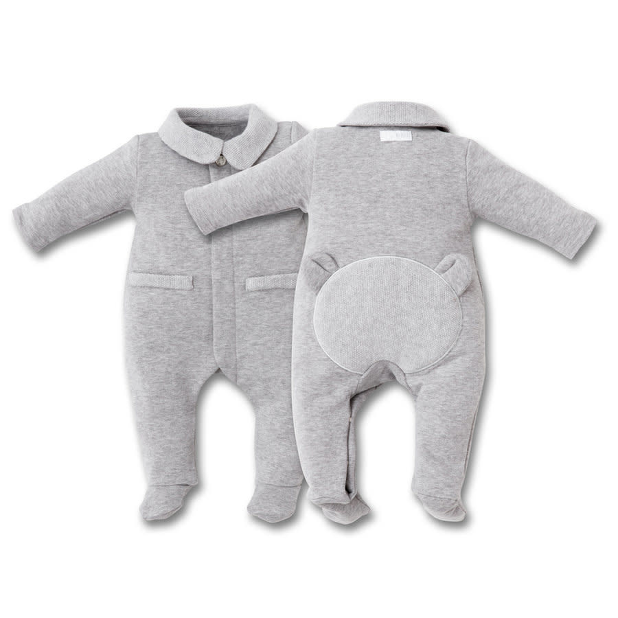 First Rompersuit Knitted Teddy Grey