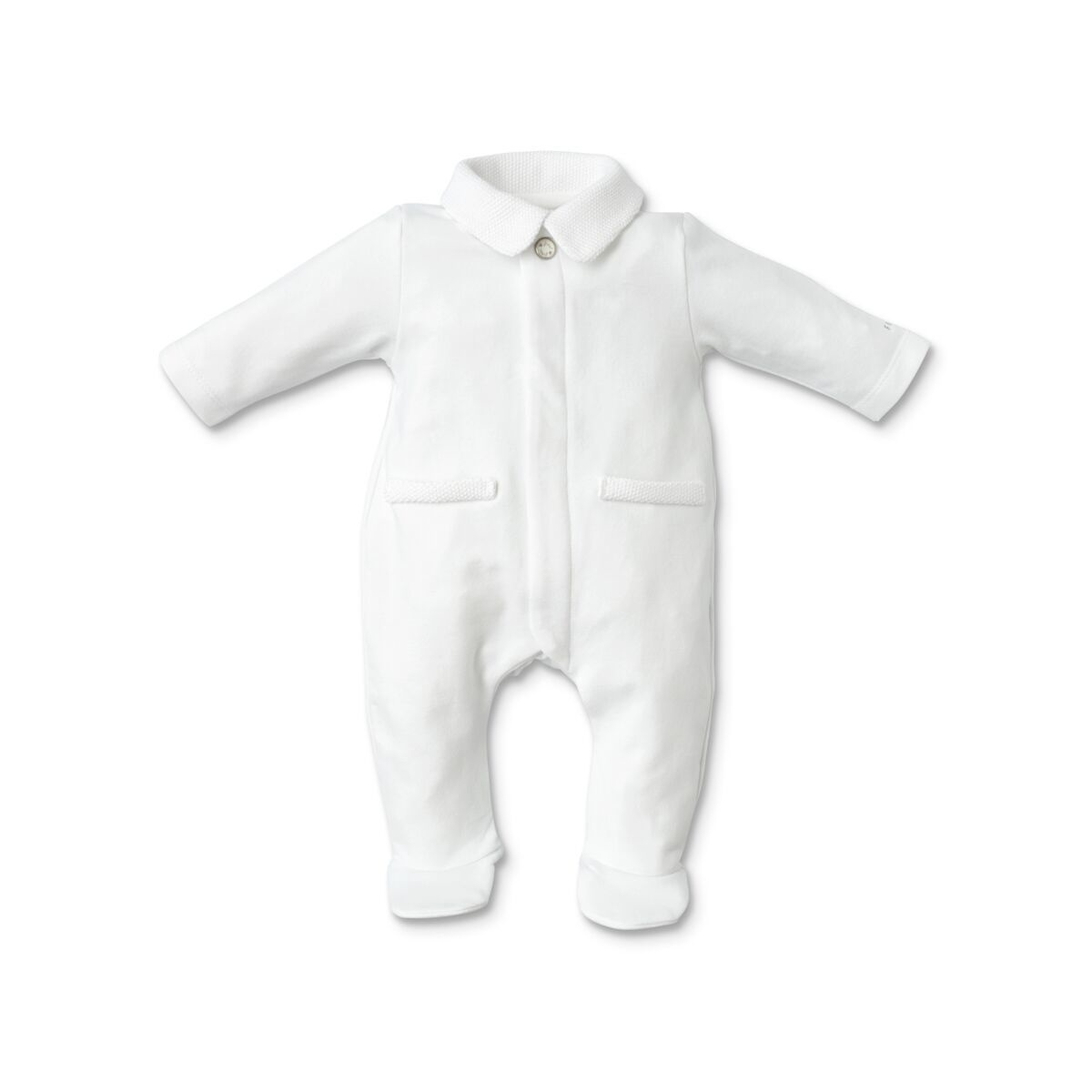 First Rompersuit Knitted Teddy White