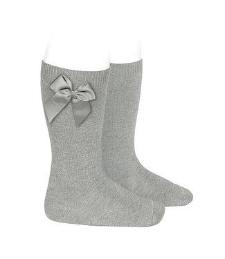 Condor Knee-High Socks With Bow Aluminium