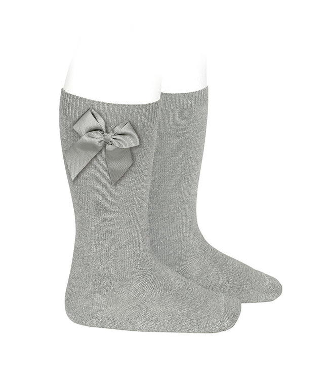 Condor Knee-High Socks With Bow Aluminium