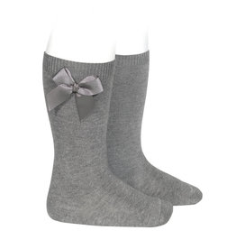 Condor Knee-High Socks With Bow Grey