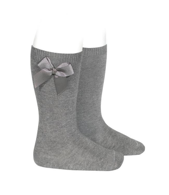 Condor Knee-High Socks With Bow Grey