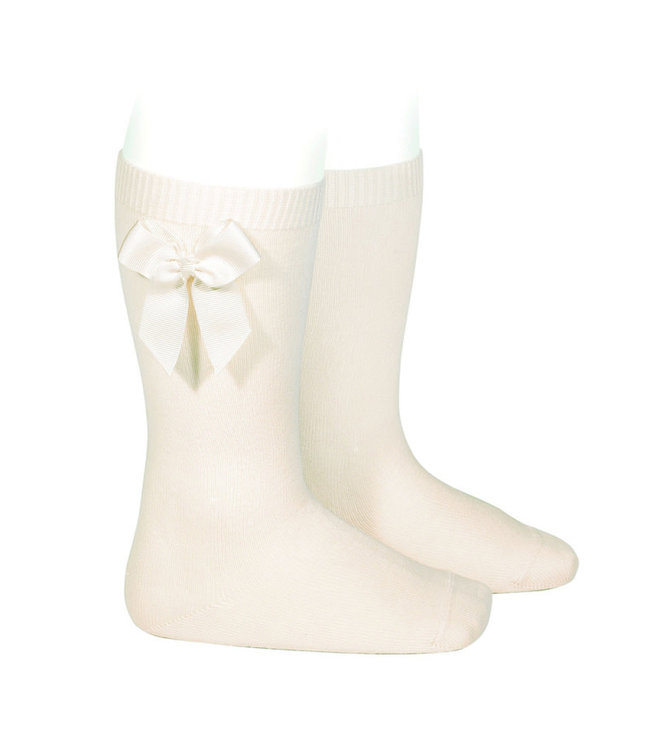 Condor Knee-High Socks With Bow Creme