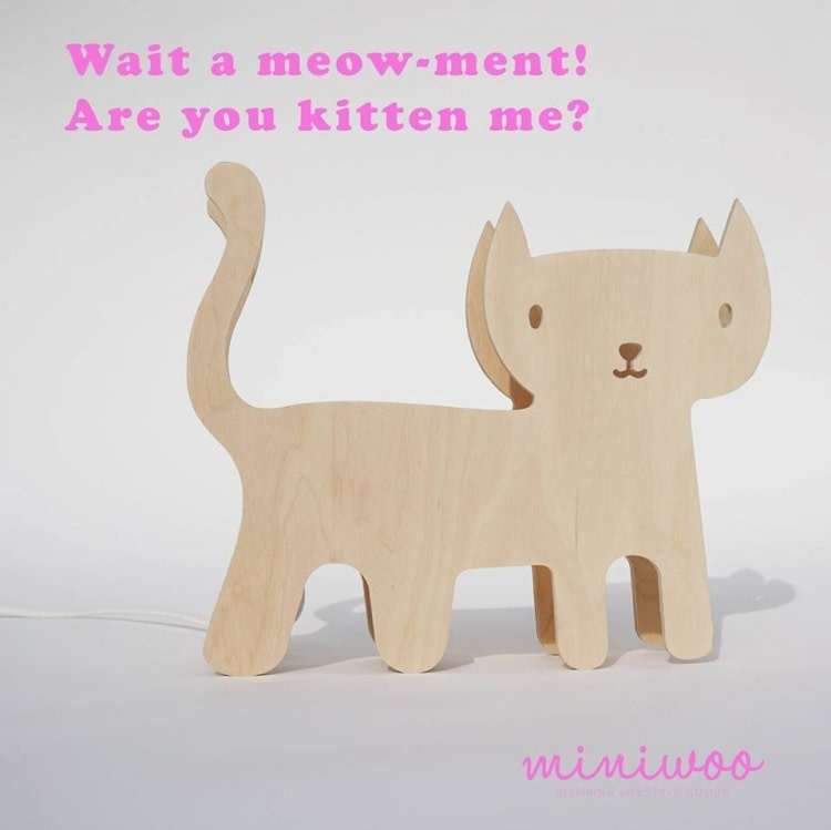 Miniwoo Table Lamp Wood Kitten Incl. E14 Lamp Holder