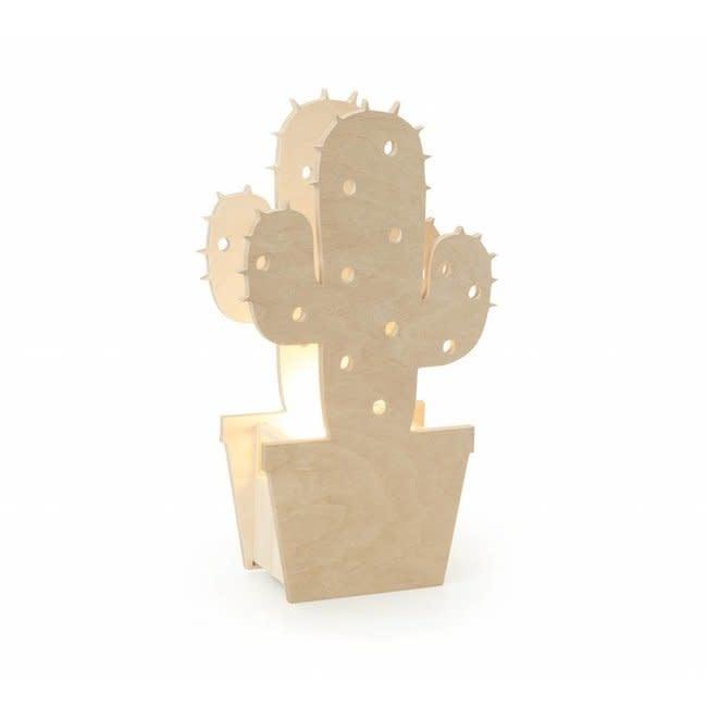 Miniwoo Table Lamp Wood Cactus Incl.E14 Lamp Holder