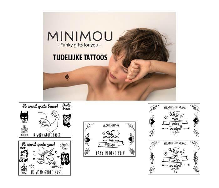 """Minimou Tijdelijke Tattoo """" Ik Word Grote Zus"""""""