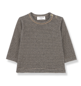 1+InTheFamily Shirt Liege Knit Small Stripe Black Beige