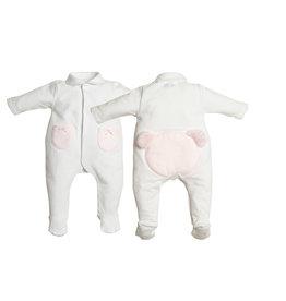 First Onesie White Teddy Bear Fur Light-Pink