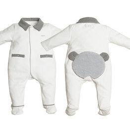 First Onesie White Teddy Bear Fur Grey