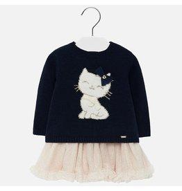 Mayoral Dress & Sweat Set Tricot Tull Cat