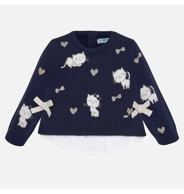 Mayoral Combined Knit Sweater Navy
