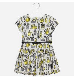 Mayoral Jaquard Printed Dress Grey-Yellow
