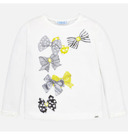 Mayoral Tee L/S Bow Grey-Yellow