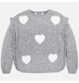 Mayoral Sweater Knit Grey Hearts White