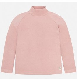 Mayoral Basic Ribbing Mockneck Sweater Blush