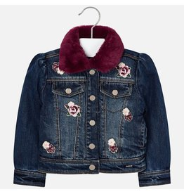 Mayoral Denim Jacket Flowers Fake Fur Basico Red