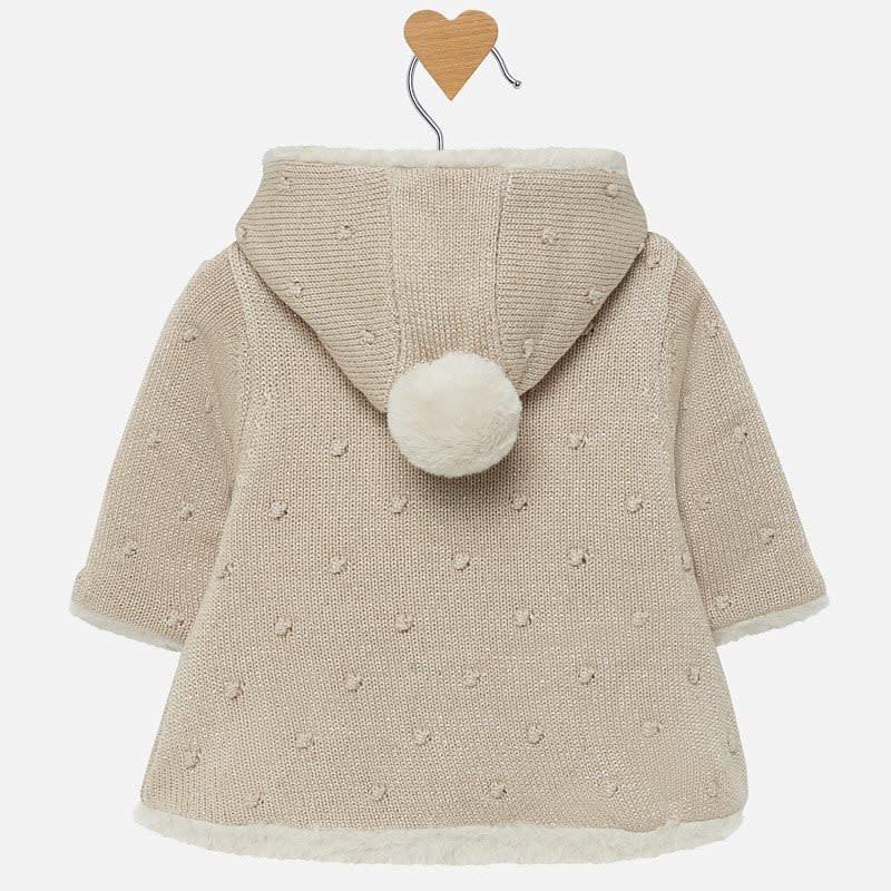 Mayoral Pompon Knit Cardigan Gold Fake Fur