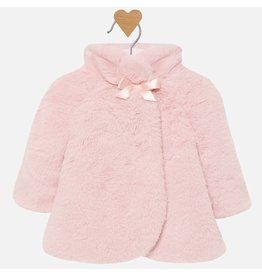Mayoral Fur Coat Blush