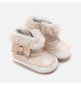 Mayoral Booties With Faux Fur Champagne