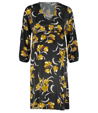 Queen Mum Black Ocher Flower Dress 7/8 LS