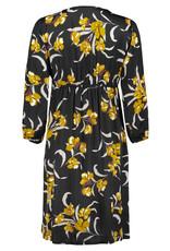 Queen Mum Black Ocher Flower Dress 7/8 LS