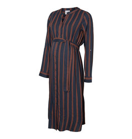 Mamalicious Isa Midi Dress Midnight Navy Stripes
