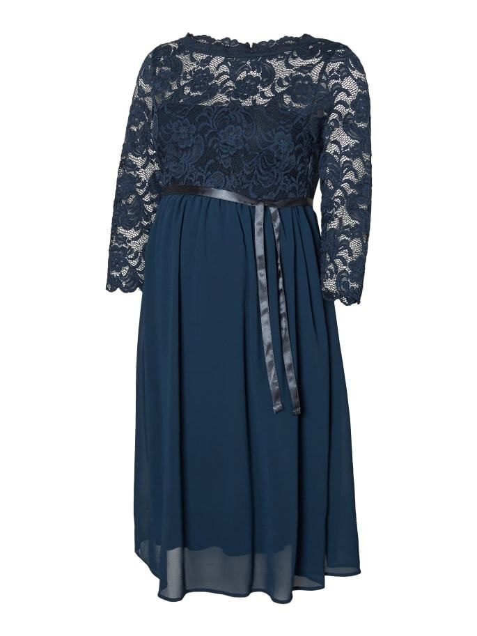 Mamalicious Mivana 3/4 Chiffon Woven Abk Dress Midnight Navy