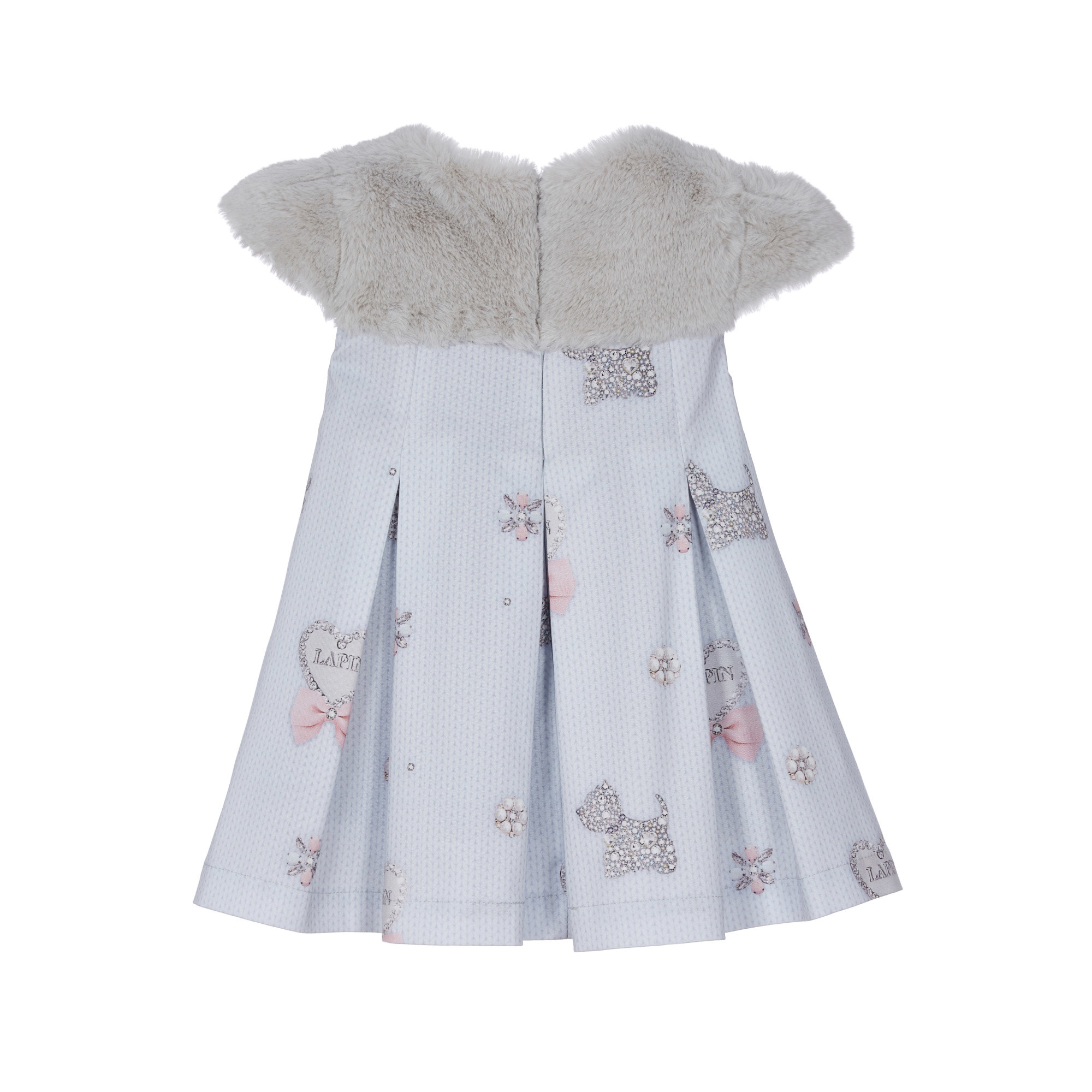 Lapin House Dress Cable Bow Pastel Fake Fur