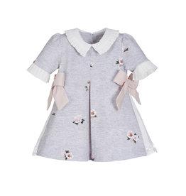 Lapin House Dress Grey Pink Flower Print