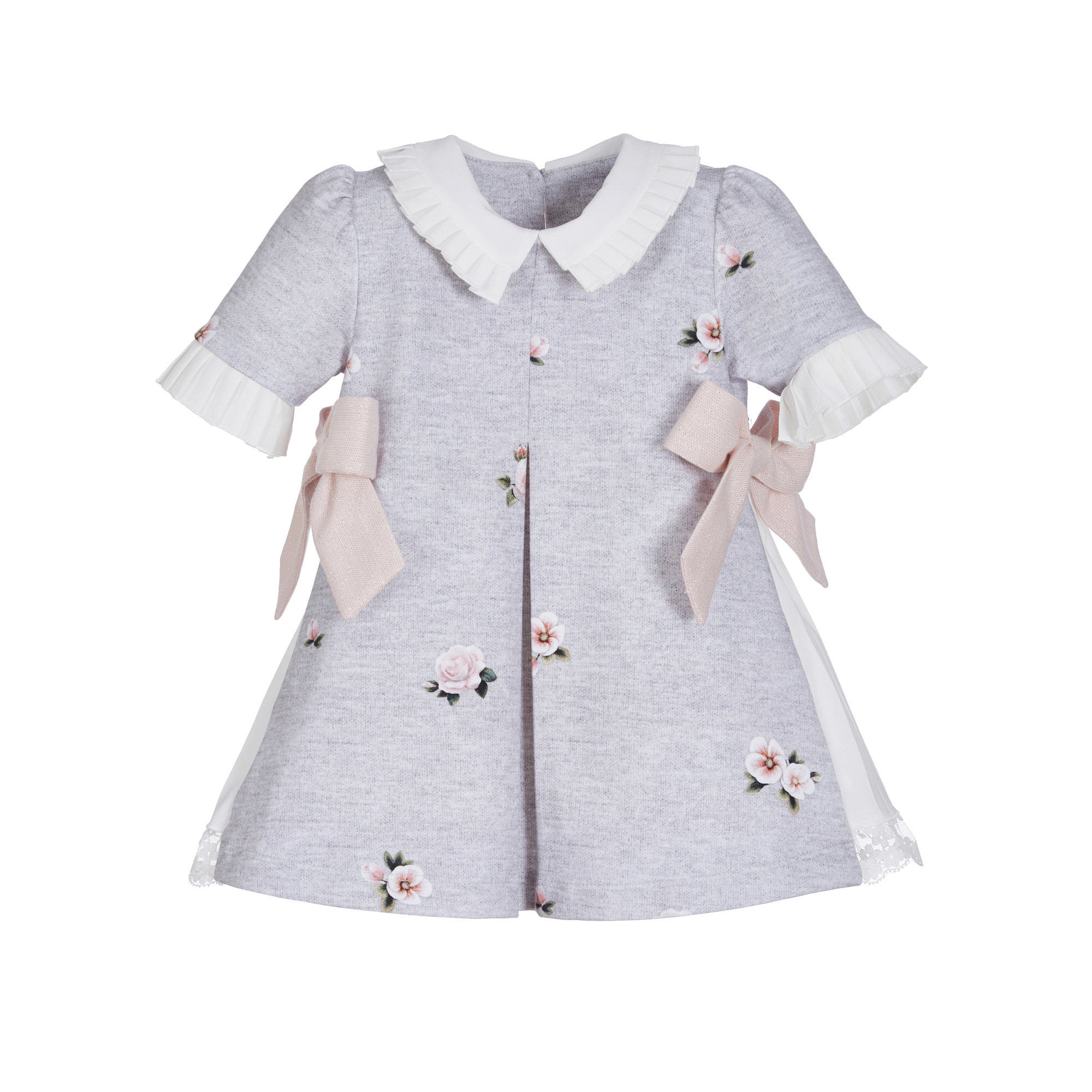 Lapin House Dress Grey Pink Flower Print