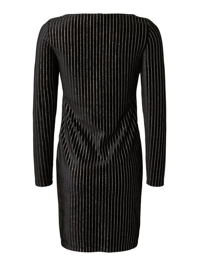 Mamalicious Aurora L/S Jersey Black Short Dress Glitter Stripes