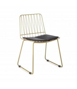 Kidsdepot Hippy Chair Gold Metal - Black Cushion 39x37x55cm