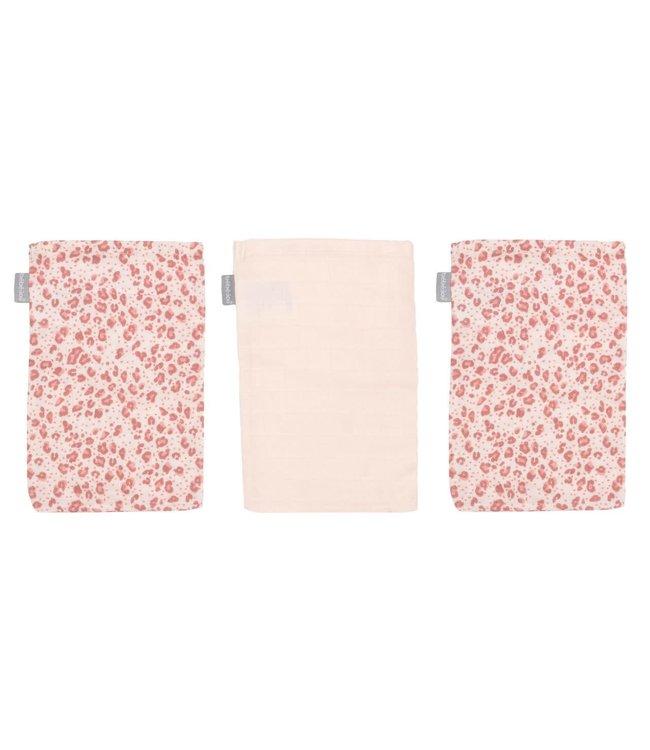 Bébéjou Tetra Washandjes  Leopard Pink 3-Pack