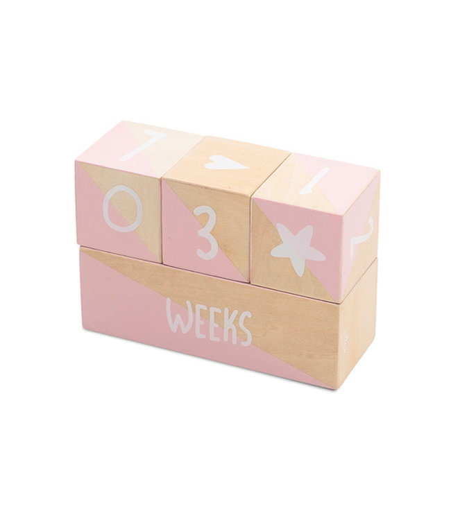 Jollein Milestone Blocks White/Pink