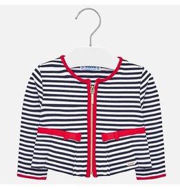 Mayoral Stripes Jacket White/ Midnight Blue