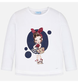 Mayoral Tee L/S White/Navy
