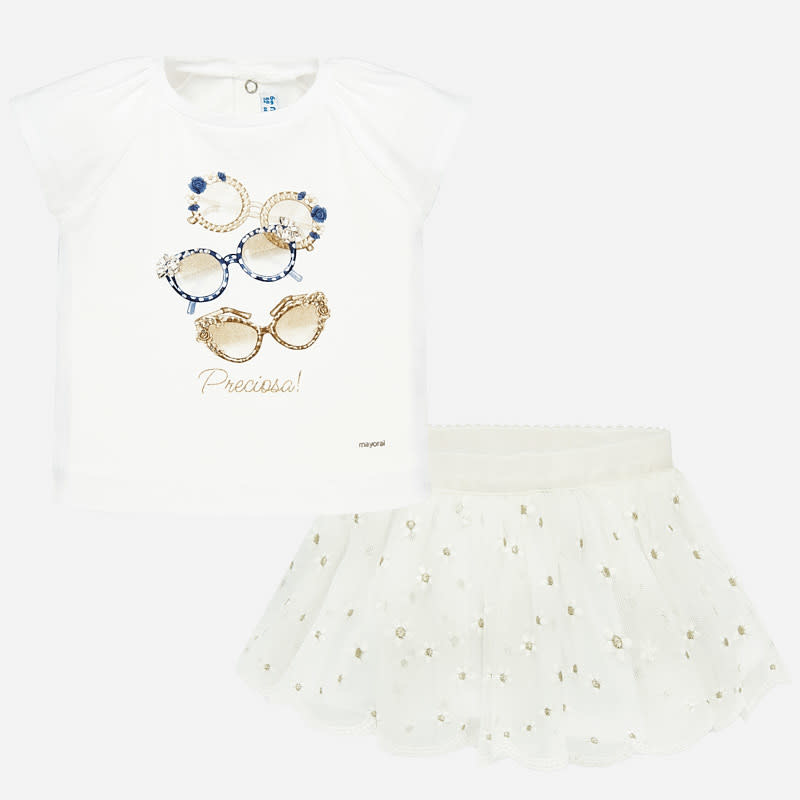 Mayoral Embroidered Tulle Skirt Set White