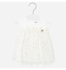 Mayoral Embroidered Tulle Dress White