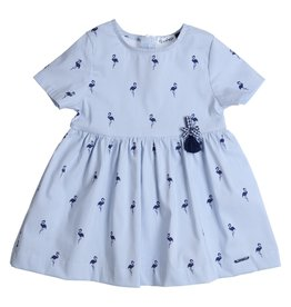 Gymp Dress LightBlue/Navy Flamingo