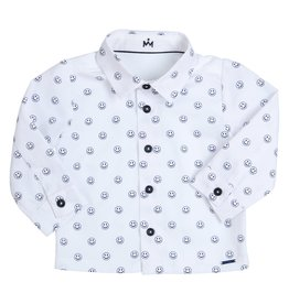 Gymp Shirt White Smiley Marine Allover