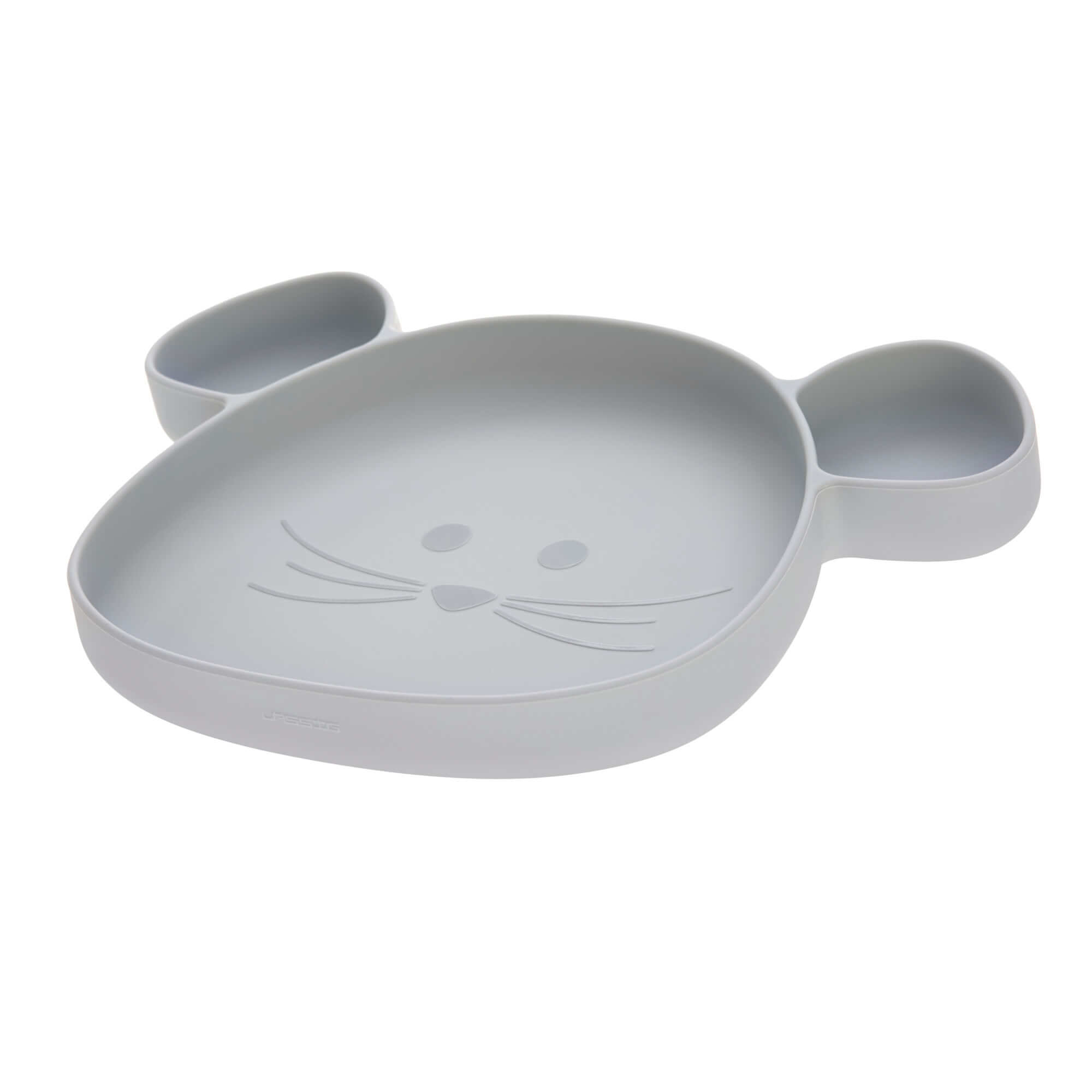 Lassig Section Plate Silicone Little Chums Mouse Grey
