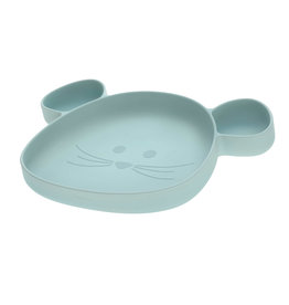 Lassig Section Plate Silicone Little Chums Mouse Blue