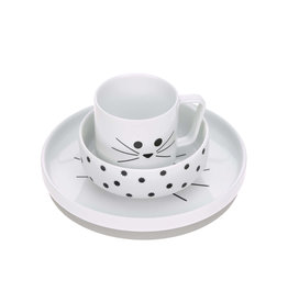 Lassig Dish Set Porcelain/Silicone Little Chums Cat